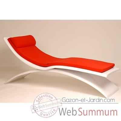 chaise longue design vagance blanche matelas rouge art mely am06 de d tente jardin. Black Bedroom Furniture Sets. Home Design Ideas