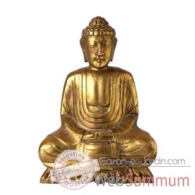 Bouddha assis finition doree 30 cm Bali -BSch30G