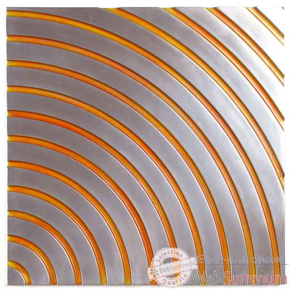 Decoration murale-Modele Concentric Wall Panel Junior, surface metal aluminium patine or-bs2397alu/or