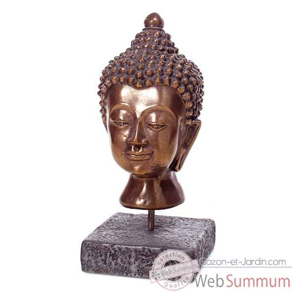 Sculpture-Modele Buddha Head, surface pierres romaine combines au fer-bs3139ros/iro