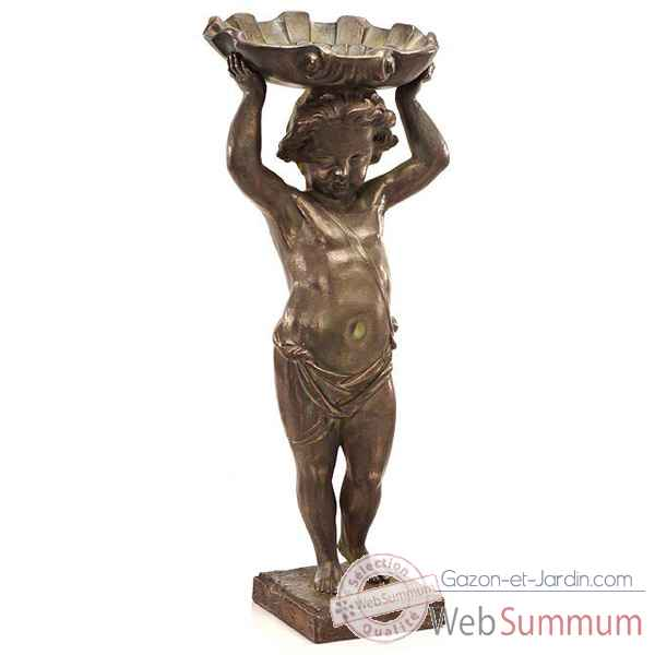 Fontaine-Modele Cherub w. Shell Fountainhead, surface bronze avec vert-de-gris-bs3143vb
