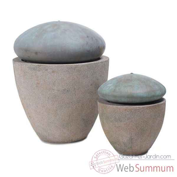 Fontaine-Modele Thimble Fountain Large, surface granite avec bronze-bs3380gry/vb