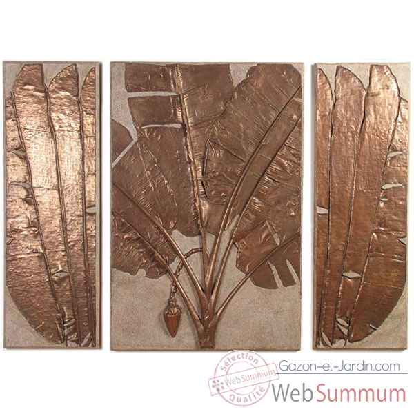 Decoration murale-Modele Banana Leaf Wall Plaque Triptych, surface granite combines avec bronze-bs4117gry/nb