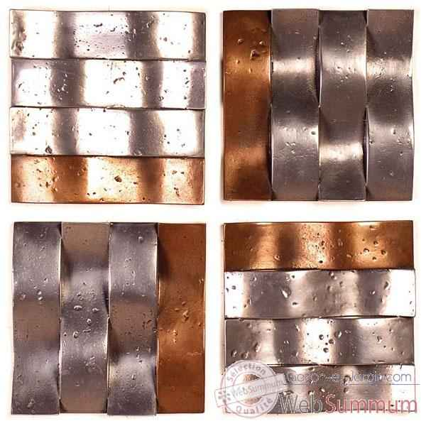 Decoration murale Onda Wall Panel Set de 4, aluminium et bronze nouveau -bs4138alu -nb