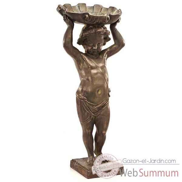 Fontaine Cherub Shell Fountainhead, bronze et vert-de-gris -bs3143vb
