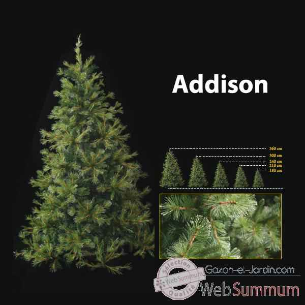 Sapin de Noel 210 cm Professionnel Addison Hard Needle Pine Tree 600 lumieres Vert