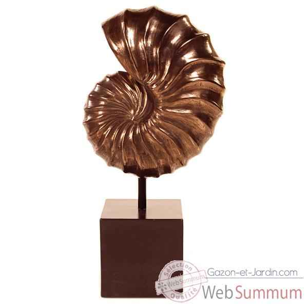 Sculpture Nautilus Table Sculpture Box Pedestal, bronze nouveau et fer -bs1713nb -iro