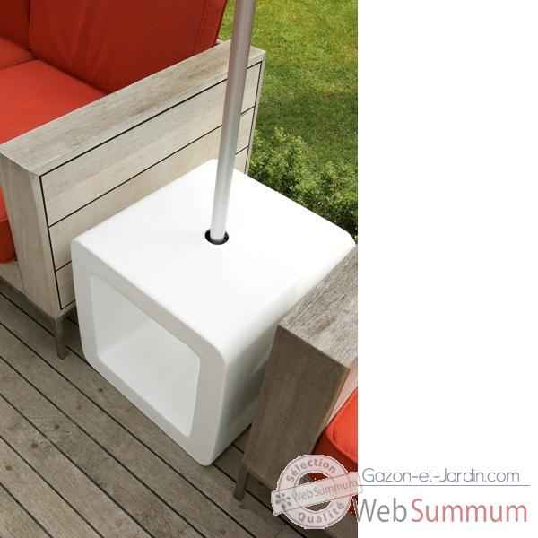 Video Pied de parasol Sywawa Socle Cube Pouf blanc -7122WHITE