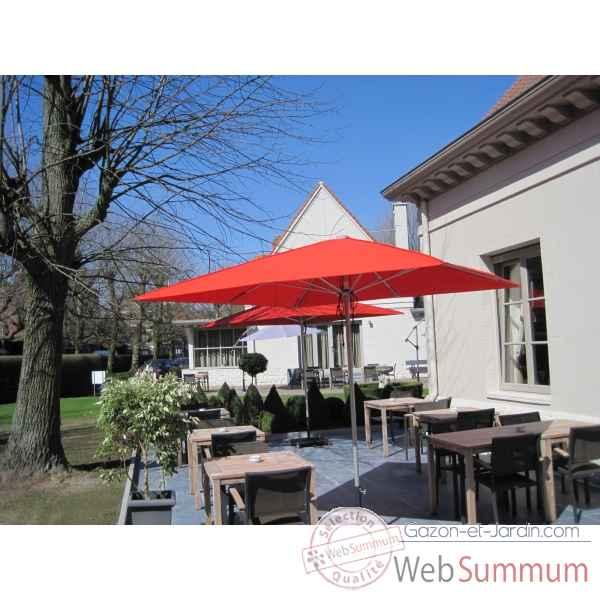 parasol symo quattro carr 3 m dans carr de parasol sur gazon et jardin. Black Bedroom Furniture Sets. Home Design Ideas