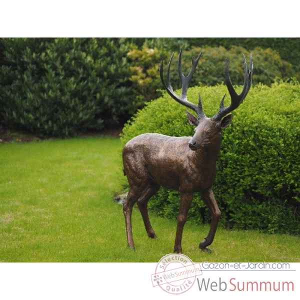 Sculpture cerf en bronze thermobrass -b837