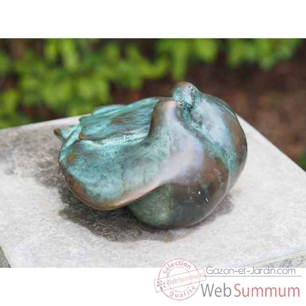 Sculpture 2 colombes en bronze thermobrass -an0637br-v