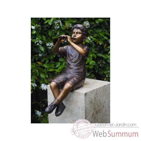 Sculpture garcon avec flute en bronze thermobrass -b1229