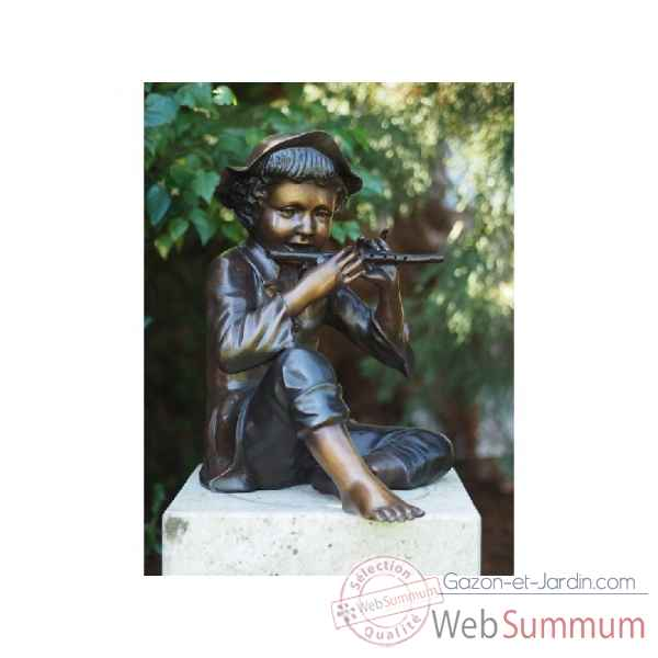 Sculpture garcon avec flute en bronze thermobrass -b57670