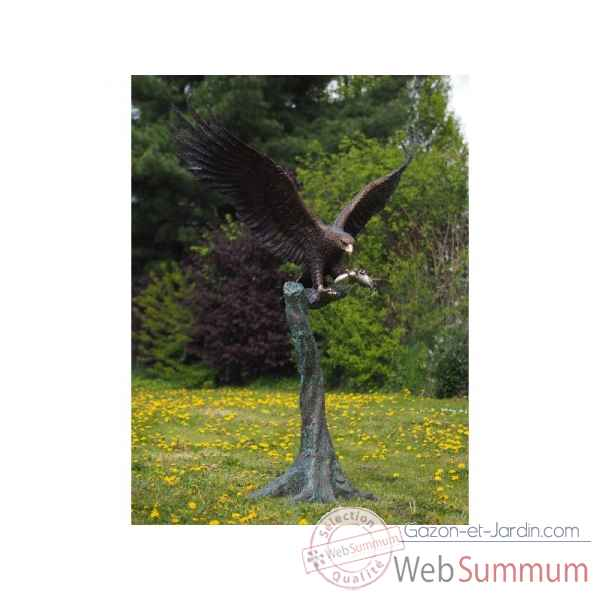 Sculpture grand aigle sur tronc d'arbre en bronze thermobrass -b1243