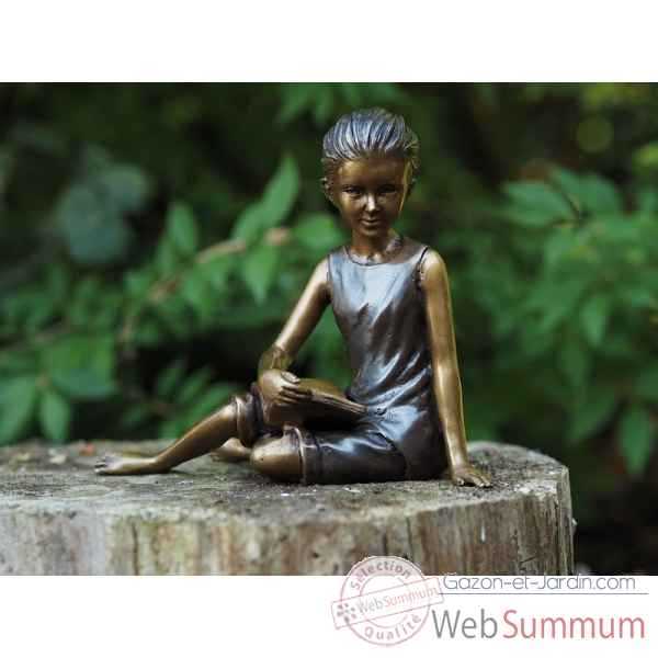 Sculpture jeune fille assise en bronze thermobrass -an1248br-b
